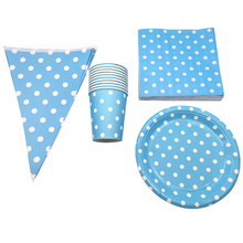 Happy Baby Shower Napkins Hanging Banner Light Blue Polka Dots Plates Birthday Party Flag Kids Boys Favors Events Cups 80pcs/lot