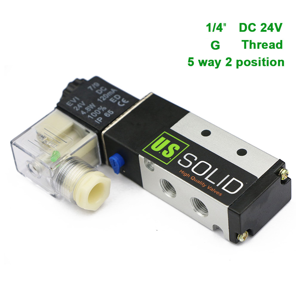U.S.Solid 1/4 5 Way 2 Position Pneumatic Electric Solenoid Valve DC 24 V G Thread Aluminum Alloy ISO Certificated dc 24v 2 port 2 way 1 2pt female thread pneumatic electric solenoid valve