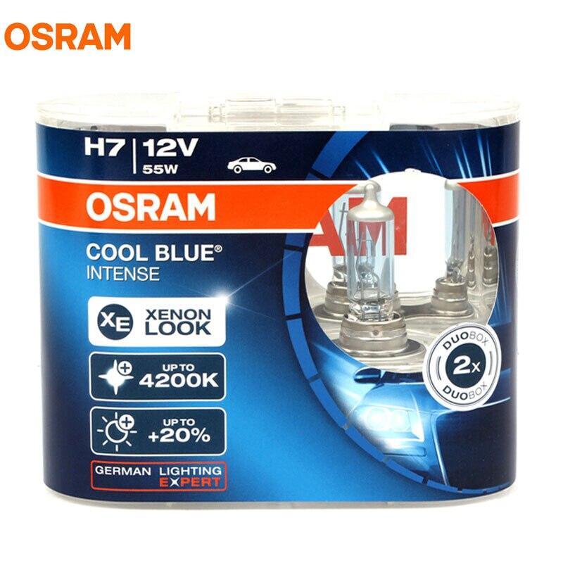 OSRAM H7 12V 55W 64210CBI 4200K Cool Blue Intense Xenon White Light Auto Lamp Halogen Headlight Hi/lo Beam 20% brightness Pair