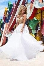 2016 neueste Sexy Lady Schöne New Fashion Design Elegante Kristalle Schatz Chiffon Lange Bodenlangen Abendkleid