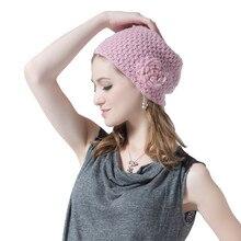 Новых осенью и зимой Женщин Вязаная шапка Камелии и сладкий теплую шапку капот де laine Skullies