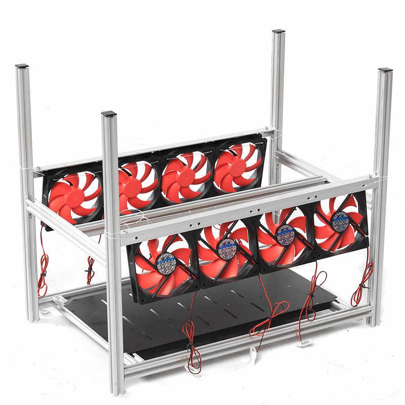 6GPU Aluminum Stackable Box With 8 Fans Mining Platform Case Outdoor Open Air Frame ETH/ ZEC/Bitcoin