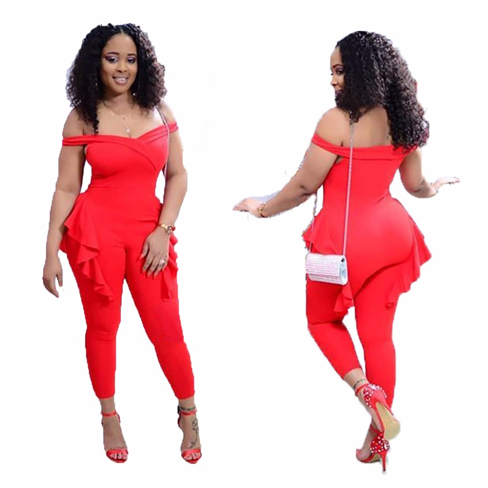 VAZN 2018 hot summer solid red skinny skinny jumpsuits women slash neck sleeveless jumpsuits ladies hollow out jumpsuits M107