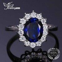 JewelryPalace 925 Sterling Silber Ring für Frauen Prinzessin Diana William Kate Middleton der 3.2ct Blue Erstellt Sapphire Verlobungs