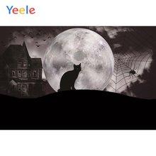 Yeele Хэллоуин Вечеринка Луна замок паутина Кот гранж фоны для