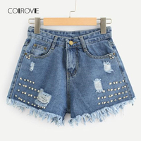 COLROVIE Klinknagel Ripped Shorts 2018 Nieuwe Zomer Button Fly Mid Taille Vrouwen Korte Jeans Blauw Pocket Studded Casual Shorts