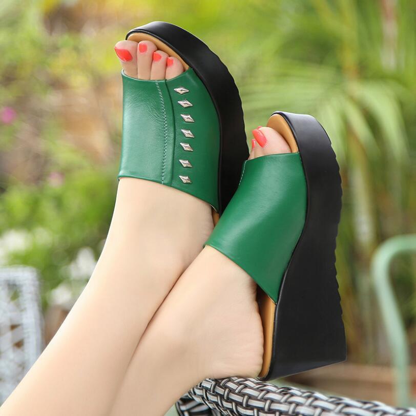 D&Henlu 2018 Shoes Woman <font><b>Slippers</b></font> Women Summer Shoes Wedge Slides Sandals Low Heels Flip Flops Sandals Women Beach High Platform