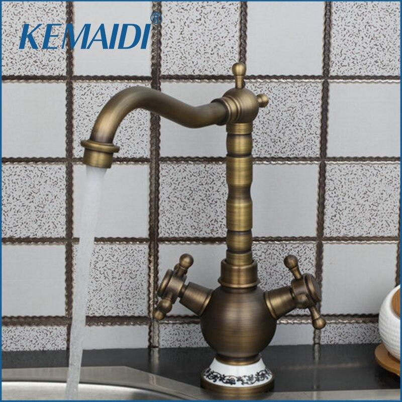 KEMAIDI Double Handles Retrol Antique Brass Swivel 360 Deck Mount Basin Sink Kitchen Torneira Cozinha Vessel