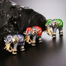 Hewan Enamel Kristal Gajah Bros Pin Wanita Kostum Bouquet Pin Perhiasan 3 cm * 2.7 cm/1.2in * 1.1in(China)