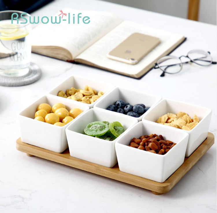 Chinese Style Ceramic Square Snacks Fruit Divider Set Dry Fruit Snack Candy Nut Snack Dish Combination with Wooden Bracket