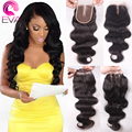 7A Peruvian Lace Closure Bleached Knots 4*4 Body Wave Human Hair Closure With Baby Hair Front Closure Free Middle 3 Part Closure