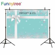 Funnytree 写真の背景ティファニーブルー豪華な誕生日パーティー宝石子供の背景花嫁洗礼 photophone 写真スタジオ