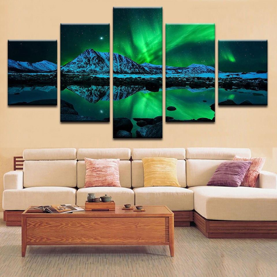 HD impreso cartel moderno Modular, lona de arte de pared de Aurora paisaje foto decoración del hogar arte pinturas de la habitación
