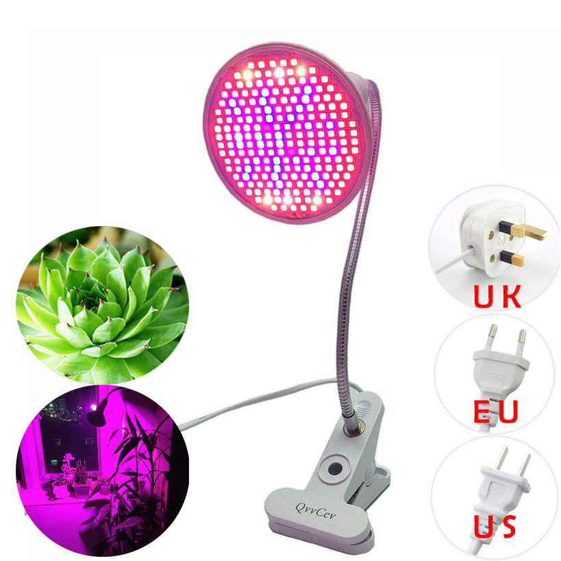 New Full Spectrum 200 Led Grow Light Clip Holder Plant Growing Bulb UV IR Lamp for indoor Vegs Hydroponic room garden greenhouse 290 led plant grow light e27 200 led growing lights bulb full spectrum indoor plant lamp for plants vegs hydroponic system