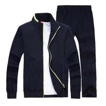 2018 Spring Autumn Men Sporting Suit Set Jacket Pants Sweatsuit 2 Piece Set Sportswear Tracksuit Male Set Clothing Plus Size 8XL