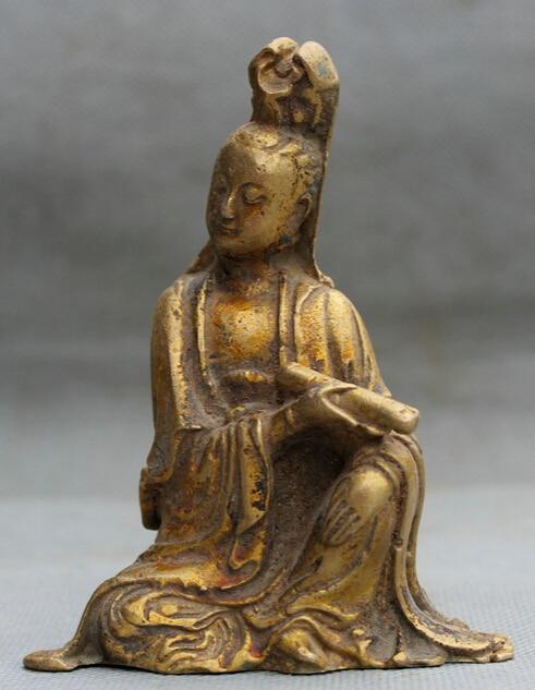 4 Old Chinese Buddhism Bronze Gild Seat Kwan-yin Guan Yin Goddess Statue S0705 B04034 Old Chinese Buddhism Bronze Gild Seat Kwan-yin Guan Yin Goddess Statue S0705 B0403