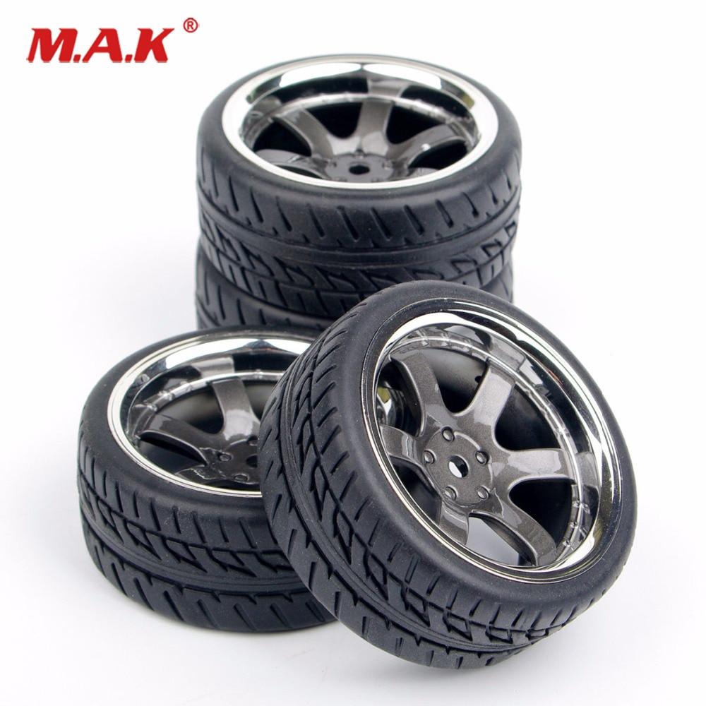 4Pcs/Set Rubber Tires Wheel Rim 12mm Hex Fit  1:10 RC On Road Car Parts Accessory