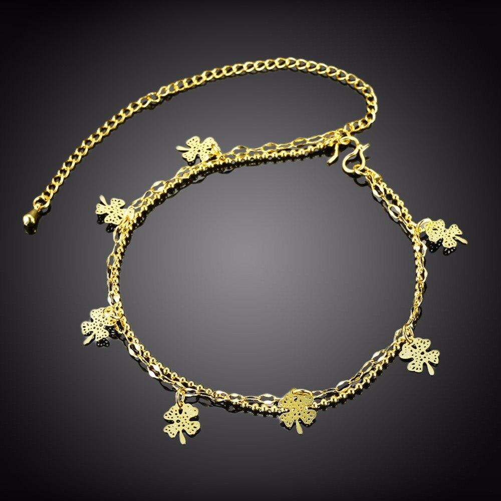 Лаки лист Six Подвески Ножные браслеты стопы носить украшения для девочек Подарки из чистого серебра 925 безопасный длинной цепи A052 подарочны...