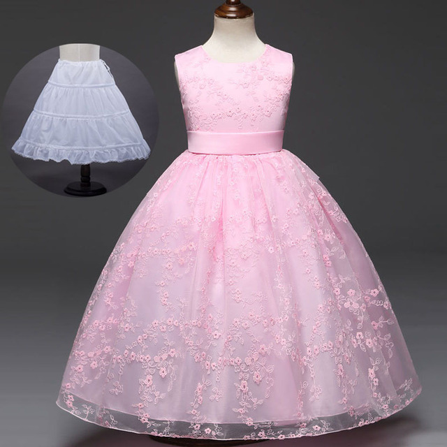 2018 New Summer Lace Children Clothing 3 To 12 Years Wedding Gowns ...