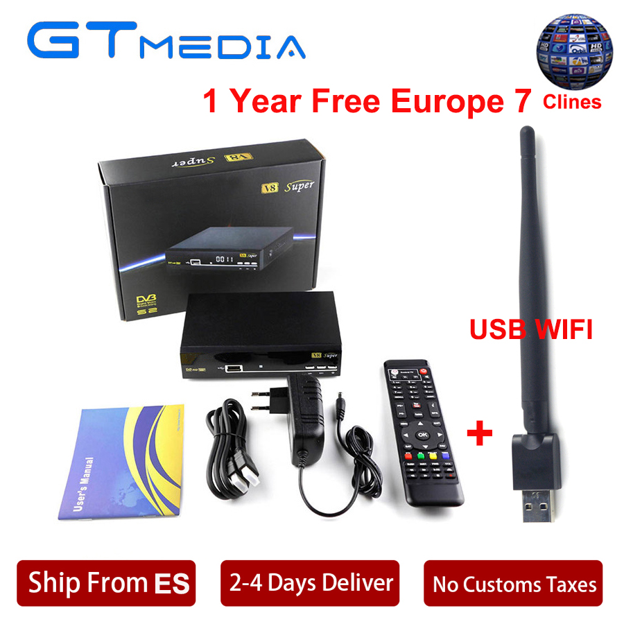 7 Cline For 1 Year DVB-S2 Receptor HD Satellite TV Receiver Tuner V8 Super +USB Wifi DVB-S2 Support PowerVU Biss key youtube Box pvt 898 5g 2 4g car wifi display dongle receiver airplay mirroring miracast dlna airsharing full hd 1080p hdmi tv sticks 3251