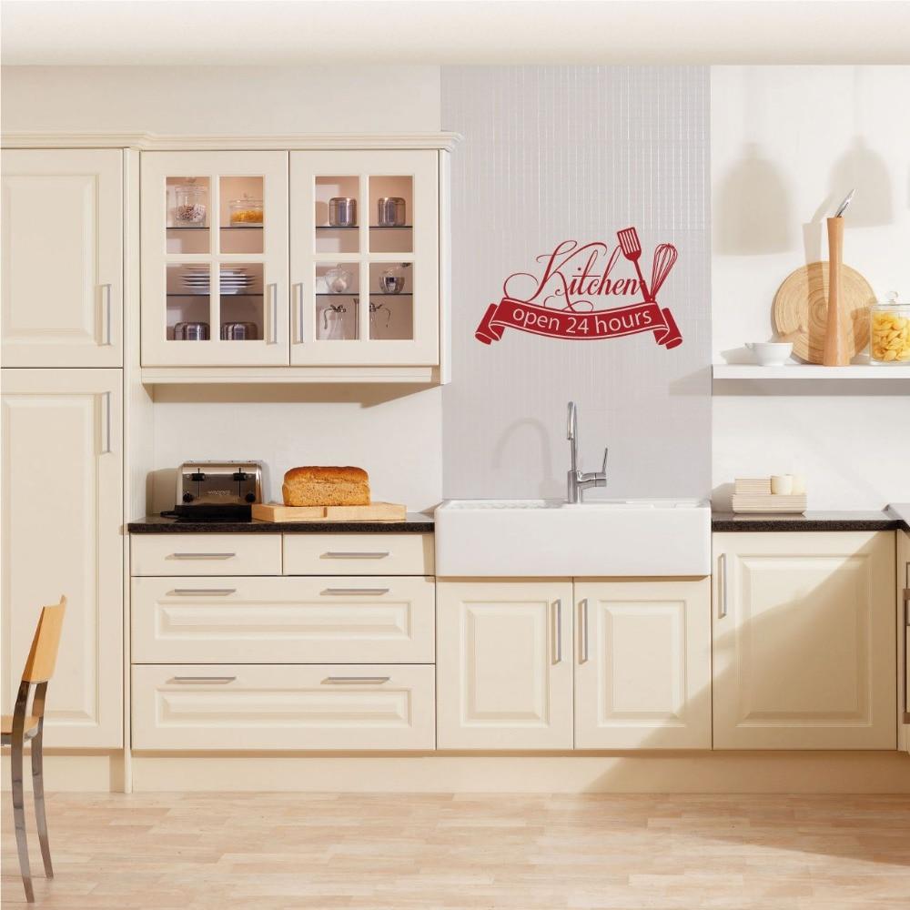 Ins Hot Sale Cuisine Wall Sticker Open 24 Hours Kitchen Cut Vinyl Decal Home Decor kitchen wall tile stickers D848