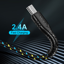 OLAF 1m 2m Micro USB Cable 2.4A Nylon Fast Charge USB Data Cable for Samsung Xiaomi Tablet Android Mobile Phone USB Charging Cor
