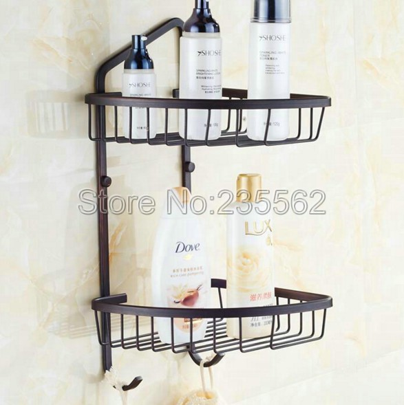 Bathroom Accessories Black Oil Brass Wall Mounted Shower Storage Basket Holders Cba122
