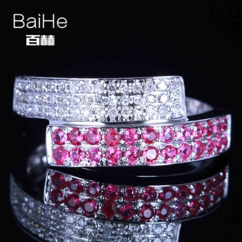BAIHE Solid 14K White Gold 0.6CT H/SI Round Natural Diamonds Wedding Women Trendy Fine Jewelry Diamond Ruby Ring
