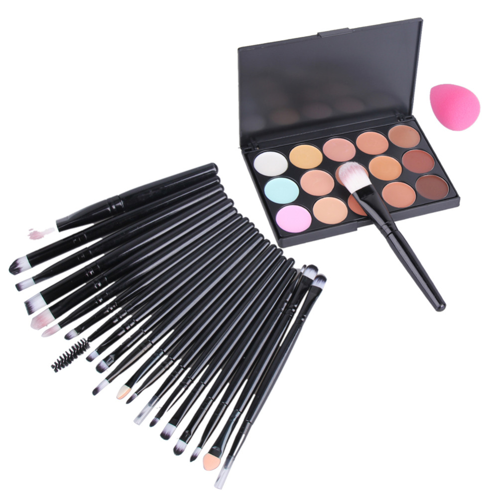 20 Pieces Makeup Brush Set Sponge Puff 15 Color Concealer Matte Shimmer Contour Palette Makeup Set