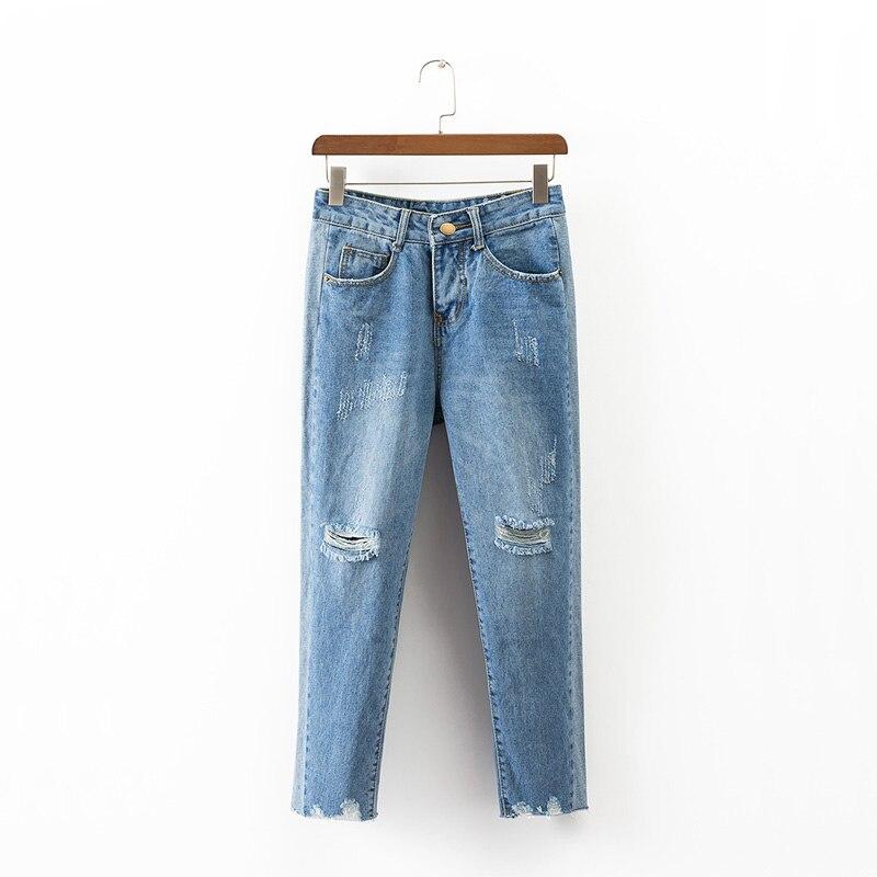 2017 summer jeans woman casual hole high waist jeans denim pants woman wide leg pants