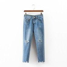 2017 летние джинсы женщина случайные отверстие высокой талии джинсы брюки джинсовые женщина широкие брюки ноги