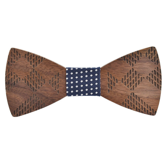 2018 high quality geometric carved wooden bow tie men women cool