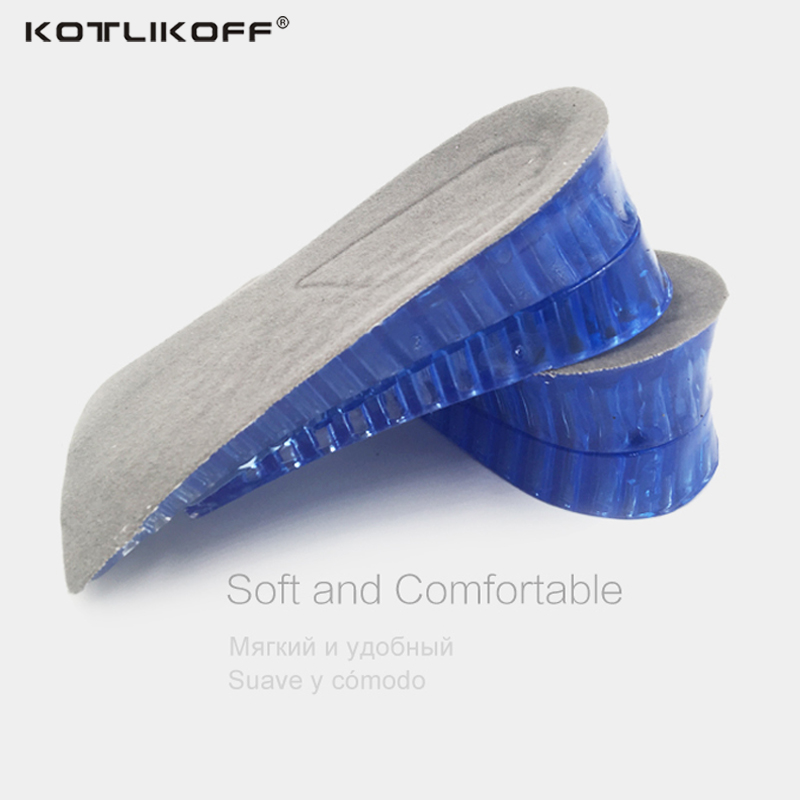 KOTLIKOFF Orthopedic Height Increase Insoles Massaging Invisible Half Silicone Foot Pad Shoe Lift Feet Care for height insoles kotlikoff 3 5cm half pad insoles women man up height increase shoe pad heel insoles pads invisible height increase shoe inserts
