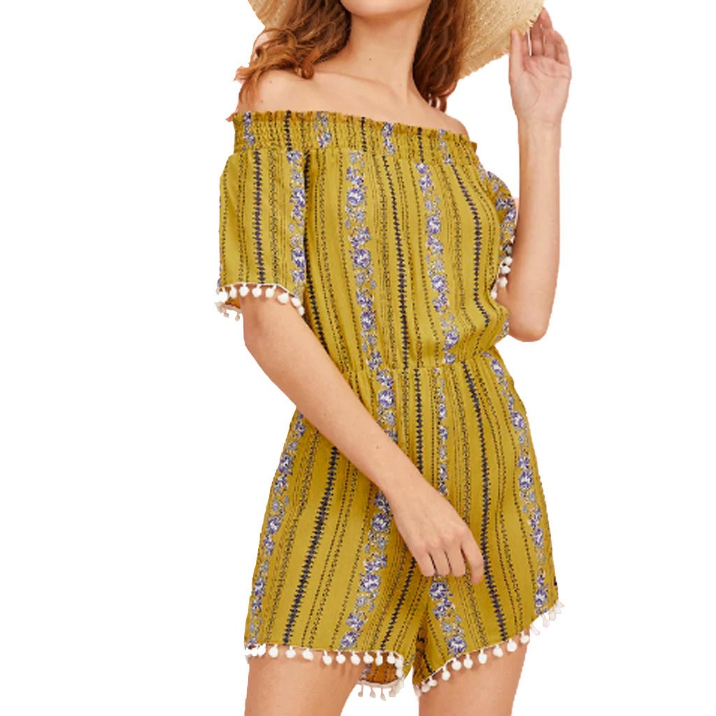 Summer Playsuit Short-Sleeve Print Floral Sexy Off-Shoulder Woman Fashion Tassel