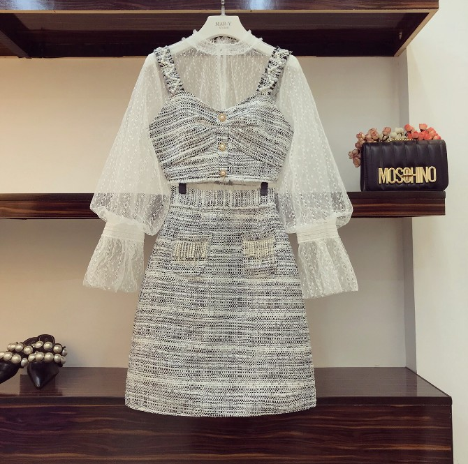 2018 Fashion Autumn Women Long Sleeve Perspective Gauze Shirt + Beads Small Suspender Vest + Tweed Wool Skirt 3 Piece Skirt Sets