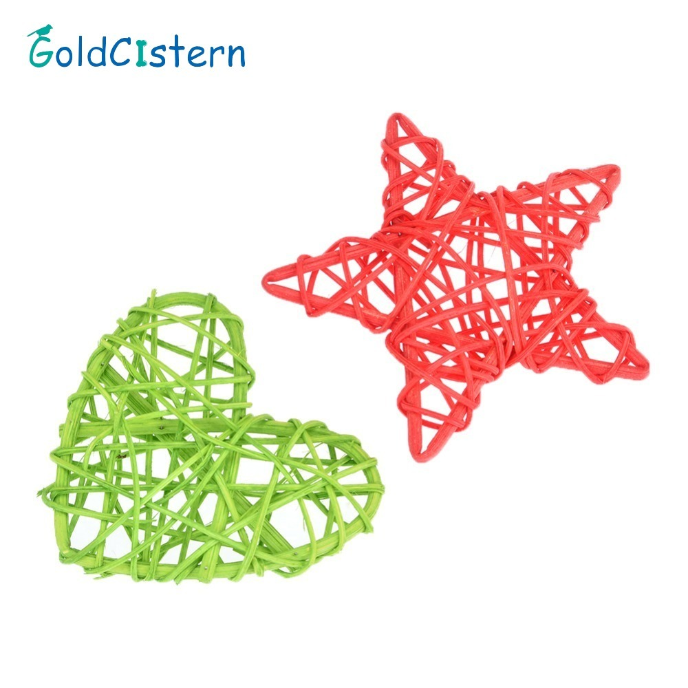 Heart or Star Rattan Bird Toys Parrot Cage Toys Cages Cockatoo Conure Handmade Parrot Toys random color