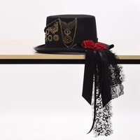 Women Gothic Lolita Cosplay Red Rose Gear Chain Black Victorian Steampunk Top Hat