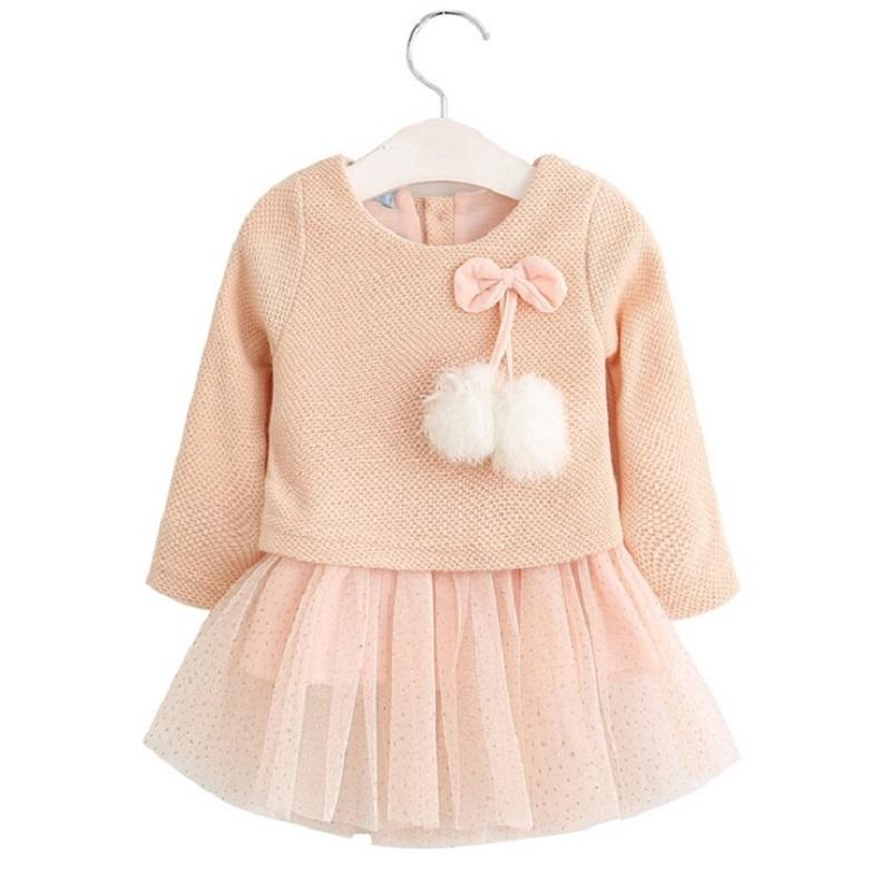 Autumn Winter Baby girl clothes Cute long sleeve Warm girl dress  Kids Toddler Tutu Party dresses 2017 cute children girls cotton dress long sleeve print tutu party dresses toddler kids clothes outfits 1 5y