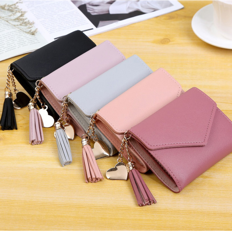 Small Wallet Women Card Holder Solid Cute Tassel Short Clutch Purse Ladies Pu Leather 3 Fold Hasp Coin Purses Female Money Bags