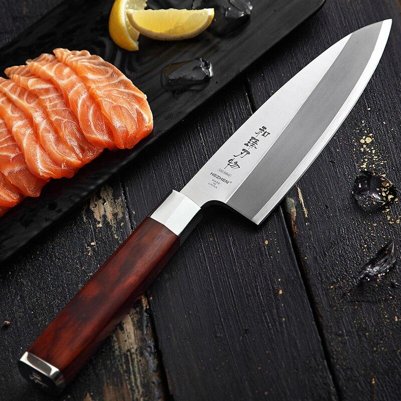 HEZHEN japonais Deba couteau X9Cr18MoV saumon Sushi Sashimi couteau en acier inoxydable Cuisine sculpture couteaux de Cuisine thon outil de coupe