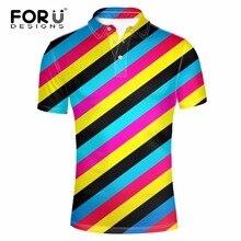 FORUDESIGNS Polo Shirt for Man Clothes Summer Short Sleeve Casual Polo Shirts Brand-clothing Striped Lattice Printing Mens Shirt