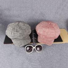 2017 Spring Autumn Cotton Newsboy Caps Solid Beret Painter Hat Women Men Vintage Octagonal Cap for Female Male Casquette
