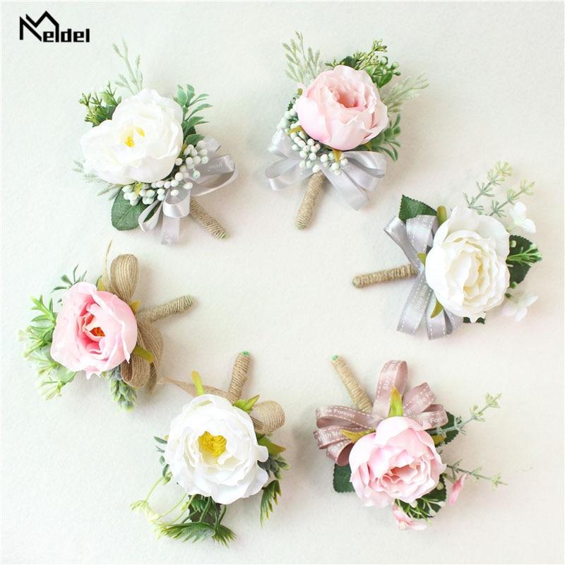 Meldel Boutonniere Wedding Corsage Groom Brooch Bride Wrist Corsage White Pink Silk Flower Bridesmaid Bracelet Marriage Supplies