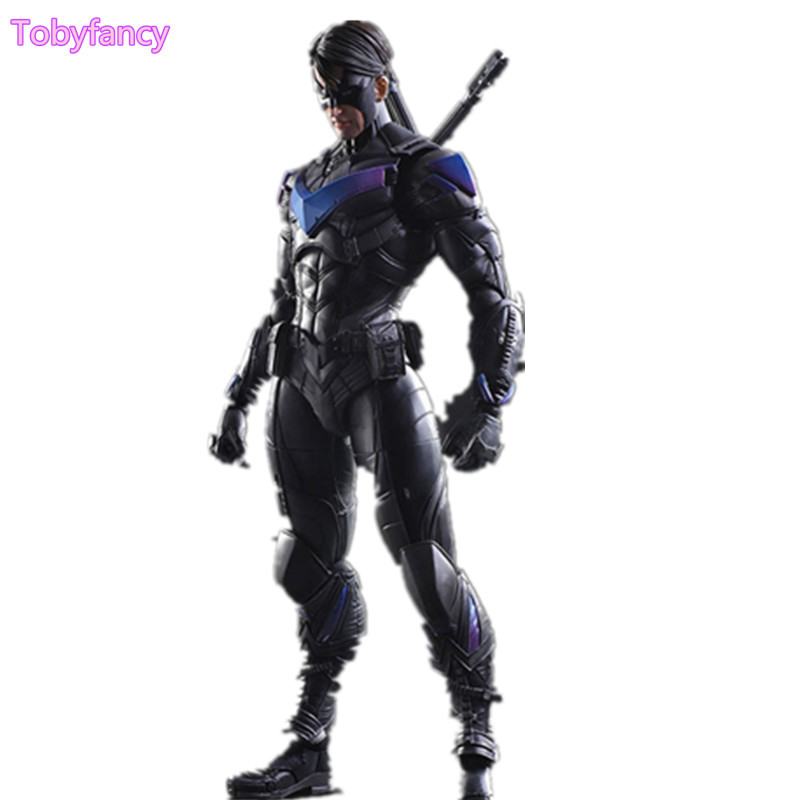 Batman Nightwing Play Arts Kai PVC Toy 260mm Collectible Model Toy Action Figure Anime Arkham Knight Playarts Kai Batman play arts kai street fighter iv 4 gouki akuma pvc action figure collectible model toy 24 cm kt3503