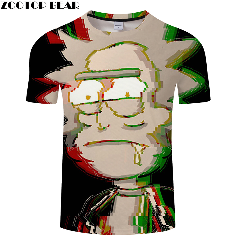 Drool Rick 3D Print t shirt Men Women tshirt Summer Funny Cartoon Short Sleeve O-neck Tops&Tees 2018 Black Drop Ship ZOOTOP BEAR