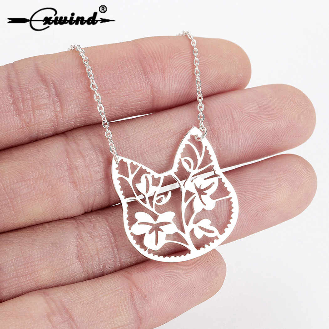 Cxwind Fashion Kitty Pet Pussy Cat Necklaces for Women Chain Jewelry Cute Cartoon Cat Head Branch Pendant Necklace Kids Gifts