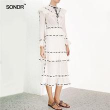 Женское длинное кружевное платье sondr летнее лоскутное с воланами