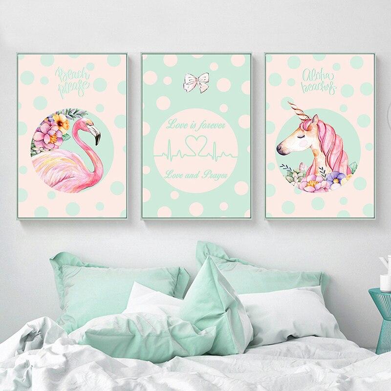 Kawaii Nordic Children Poster Unicorn Flamingo Wall Art