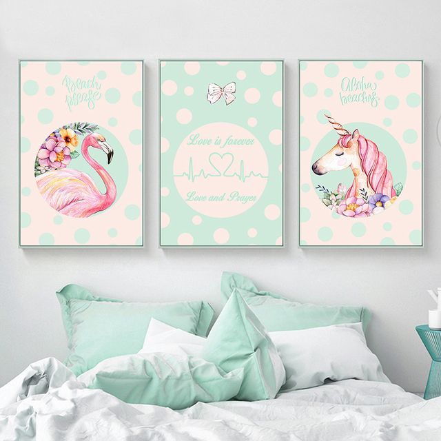 Kawaii nordic kinderen poster eenhoorn flamingo muur for Decoration maison licorne