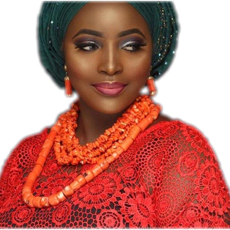 Fashion 2018 Bridal Jewelry Set Earrings Necklace Bracelets Orange African Nigerian Coral Beads Jewelry Set For Women Wedding orange morganite stylish jewelry set for women white zircon gold color rings earrings necklace pendant bracelets